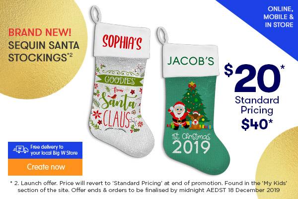 BRAND NEW $20 for Sequin Santa Stocking  *2
