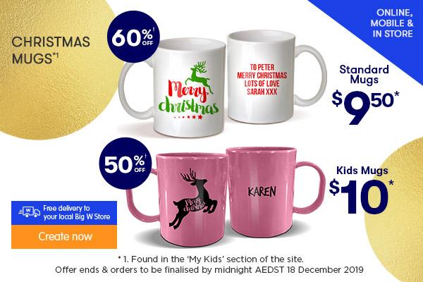 $9.50 for Christmas Standard Mugs, $10 for Christmas Kids Mugs *1