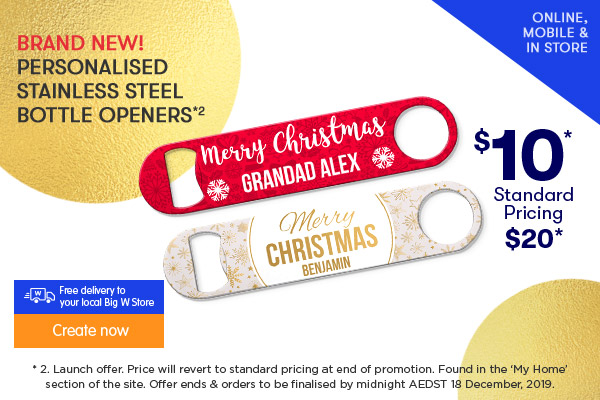 BRAND NEW - Personalised Stainless Steel Bottle Openers $10 *2