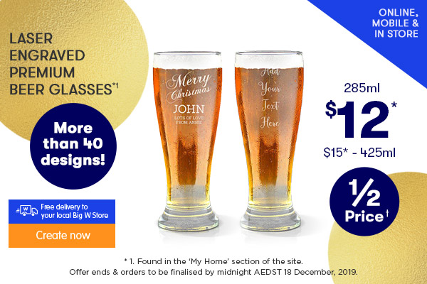 Engraved - Premium Beer Glasses - $12 285ml & $15 425ml*1