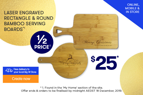 Engraved - Rectangle & Round Bamboo Serving Boards $25 each*1