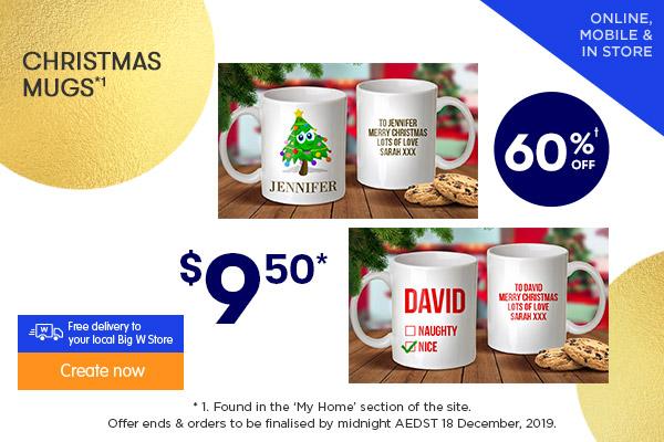 $9.50 for Standard Mugs*1