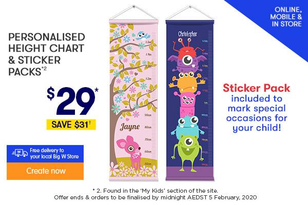 $29 Height Chart & Sticker Pack *2