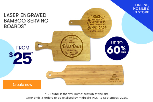 Engraved - Rectangle & Round Bamboo Serving Boards $25 each, Engraved - Long Bamboo Serving Board $39 *1