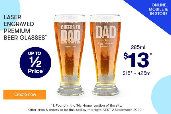 Engraved - Premium Beer Glasses - $13 285ml & $15 425ml *1