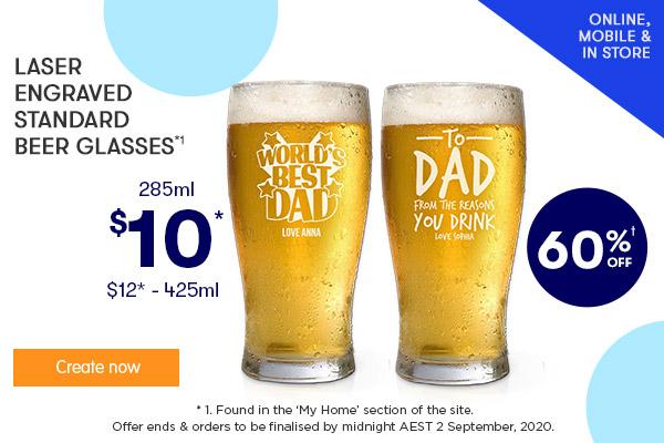 Engraved - Standard Beer Glasses - $10 285ml & $12 425ml *1