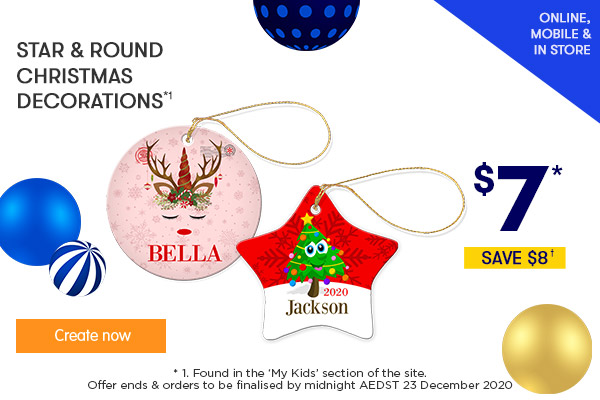 $7 for Christmas Ornaments - Star & Round *1