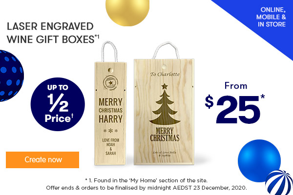https://4.app.fujifilmimagine.com/products/fairy/standard-and-stemless-wine-glasses-44601/12/1/none?utm_source=email&utm_medium=email&utm_campaign=201113BWEDM  Engraved - Wine Gift Box - Single $25, Double $35