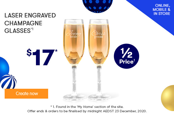 Engraved - Champagne Glass $17