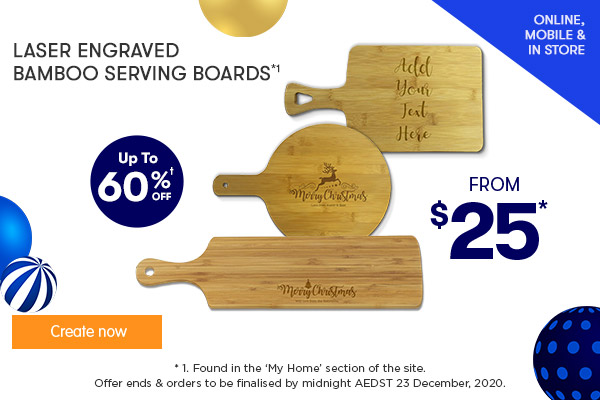 Engraved - Rectangle, Round, & Long Bamboo Serving Boards - $25 round & rectang, $39 long