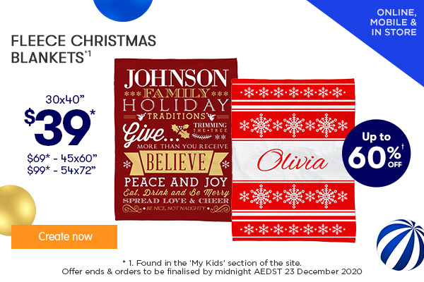 $39 for 30x40, $69 for 45x60, $99 for 54x72 Fleece Christmas Blankets (NEW designs)