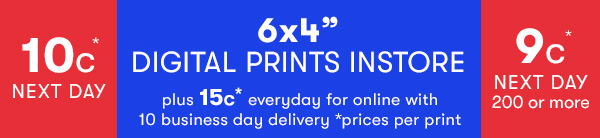 6x4 Digital Prints from 9cents each every day!