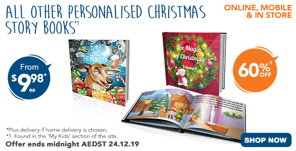Plus 60% off ALL other Christmas Story Books - incl 8x8 Story Books & 10x10 Story Books