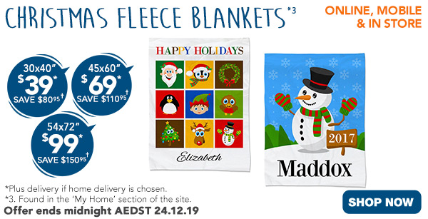 $39 for 30x40, $69 for 45x60, $99 for 54x72 Fleece Photo Blankets