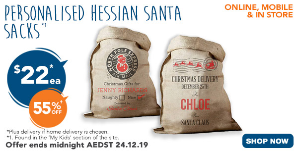 $22 for Hessian Santa Sack