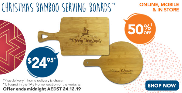 Engraved - $24.95 Rectangle & Round Bamboo Serving Boards