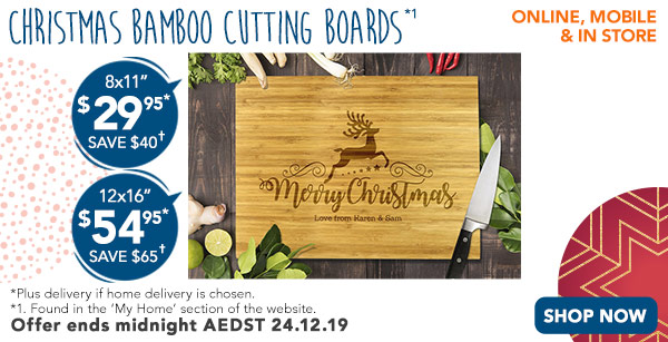 Engraved - $29.95 for 8x11, & $54.95 for 12x16 Bamboo Cutting Boards