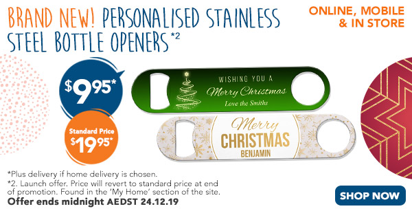 BRAND NEW - Personalised Stainless Steel Bottle Openers $9.95