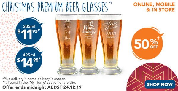 Engraved - Premium Beer Glass - $11.95 for 285ml, & $14.95 for 425ml *1