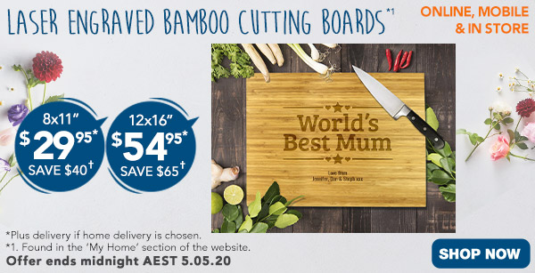 Engraved - $29.95 for 8x11, & $54.95 for 12x16 Bamboo Cutting Boards *1