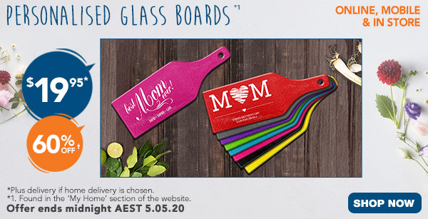 $19.95 Personalised Glass Boards