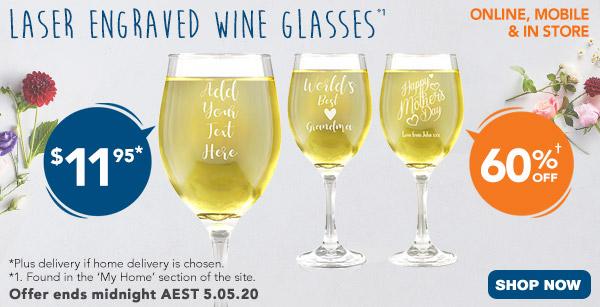 Engraved - $11.95 410ml Wine Glasses *1
