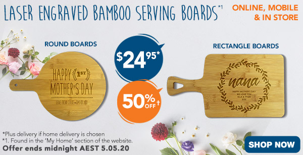 Engraved - $24.95 Rectangle & Round Bamboo Serving Boards *1