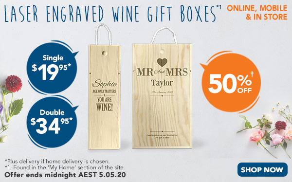 Engraved - Wine Gift Box - Single $19.95, Double $34.95  *1